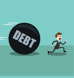 businessman or manager run away from big debt vector image