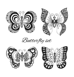 Butterflies decorative icons set vector