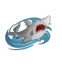 cartoon of white shark vector image