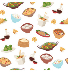 Chinese food asian street and restaurant cuisine vector
