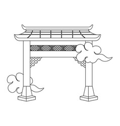Chinese gate cartoon vector
