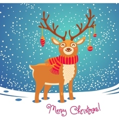 Christmas card with reindeer Cute cartoon deer vector image