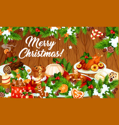 christmas dinner banner with winter holiday dishes vector image