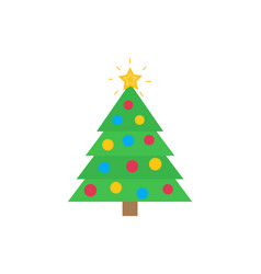 christmas tree with traditional decorations star vector image