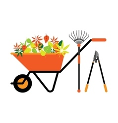 Cleaning leaves tools wheelbarrow vector