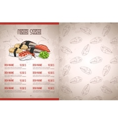 Color horisontal sushi menu vector image