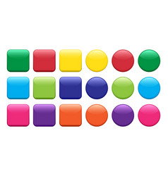 colorful set buttons square and round shape vector image