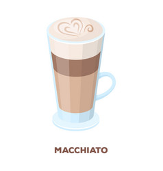 Cup of coffee macchiato with foam different types vector