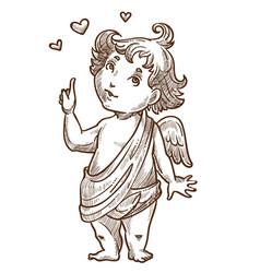 cupid or valentines day angel with wings sketch vector image
