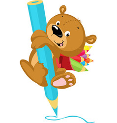 Cute bear drawing with crayon - funny illus vector