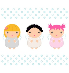 Cute Kawaii christmas angels isolated on white vector image