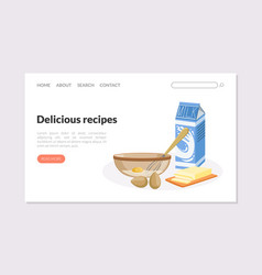 delicious recipes landing page template website vector image