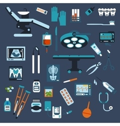 Dentistry surgery and medical checkup flat icons vector
