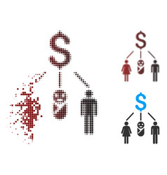 Dispersed pixel halftone family budget icon vector