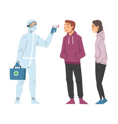 doctor measuring temperature people using non vector image