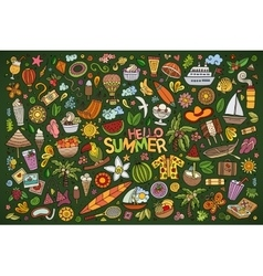 doodle cartoon set of summer objects and vector image