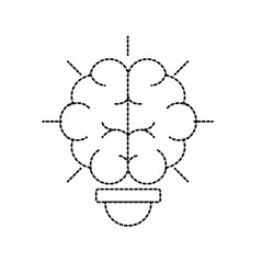 Dotted shape bulb with brain inside to creative vector