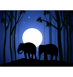 Elephants in Night Forest vector