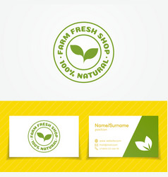 farm fresh shop logo set with green sprout vector image