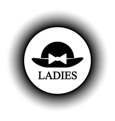 Female restroom symbol button vector
