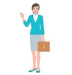 Female teacher with a bag vector