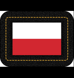 Flag of poland icon on black leather backdrop vector