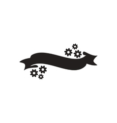 Flat icon in black and white flowers ribbon vector