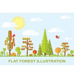 Flat tree spring flower spruce vector image