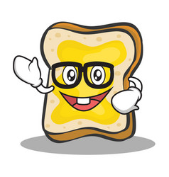 geek face bread character cartoon vector image