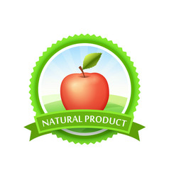 green badge with field and tasty red apple - round vector image