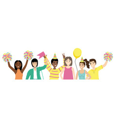 Group happy people with waving hands vector