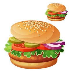 hamburger cartoon icon isolated on white vector image