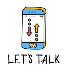 hand draw phone talk icon in doodle style for vector image