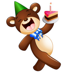 happy bear cartoon holding birthday cake vector image