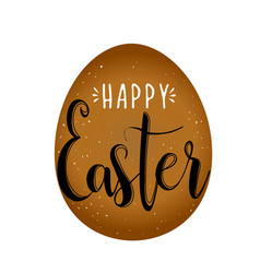 happy easter calligraphy egg on white background vector image