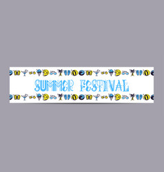 hello summer and set of summer colored icons in a vector image