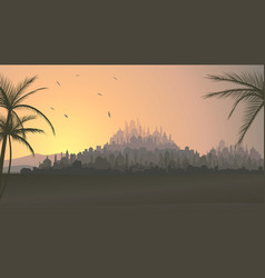 horizontal of big arab city at sunset vector image