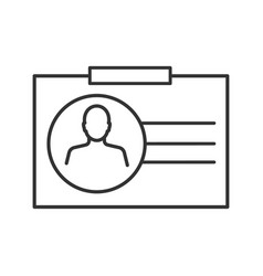 identification badge linear icon vector image