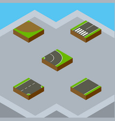 isometric road set of turn asphalt unilateral vector image