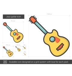 Jazz guitar line icon vector