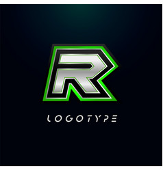 Letter r for video game logo and super hero vector