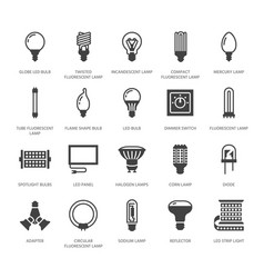 Light bulbs flat glyph icons led lamps types vector