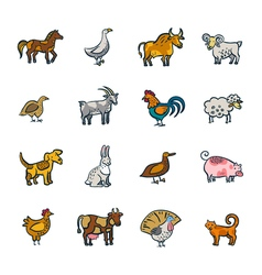 Line Farm Animals Set vector image