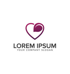 Love leaf logo design concept template fully vector