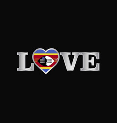 Love typography with swaziland flag design vector