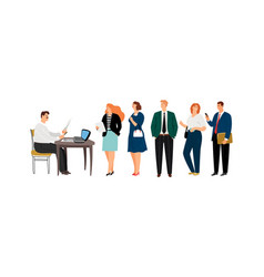 male secretary and people queue vector image