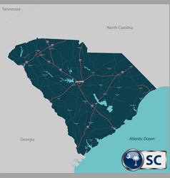 map of state south carolina usa vector image