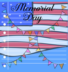 Memorial day card design style vector