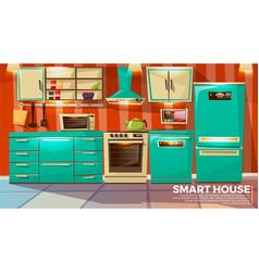 Modern smart kitchen interior vector