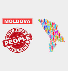 Moldova map population demographics and corroded vector